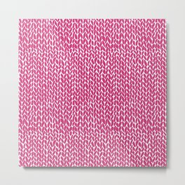 Hand Knit Hot Pink Metal Print