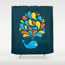 Dark Colorful Happy Cartoon Whale Shower Curtain