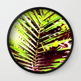 Palm Leaves, Bright Green, Yellow and Magenta Wall Clock