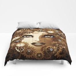 Steampunk Girl Portrait  Comforters