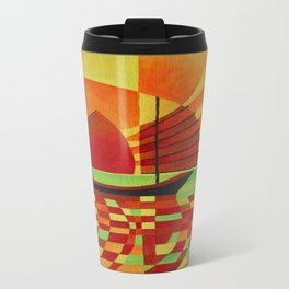 Junk on Sea of Green Cubist Abstract  Travel Mug