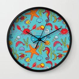 Cute Kids Ocean Sea Life Marine Pattern Wall Clock