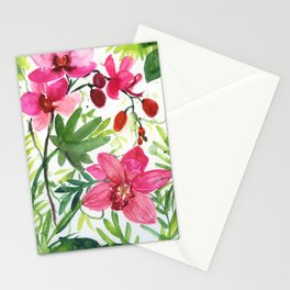 orchideas: watercolor pattern Stationery Cards