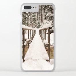 Pericnik Falls Snowy Bridge Clear iPhone Case