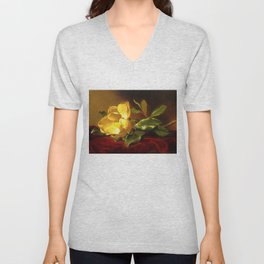 A Gold Yellow Magnolia on Red Velvet by Martin Johnson Head Unisex V-Neck