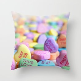 Valentine's Day Candy Hearts Throw Pillow