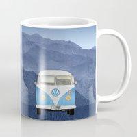 volkswagen Mugs featuring Volkswagen Bus by Aquamarine Studio
