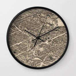 Vintage Pictorial Map of Pittsfield MA (1899) Wall Clock