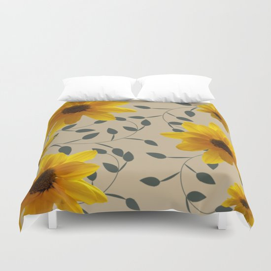 Yellow Flowers and Vines Duvet Cover