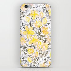 Sunny Yellow Crayon Striped Summer Floral iPhone & iPod Skin
