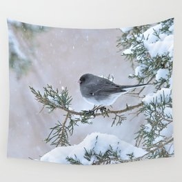 Snow Day Junco Wall Tapestry
