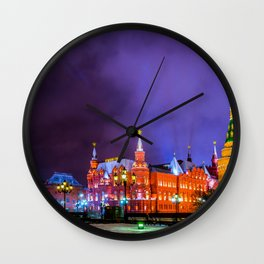Moscow Manege Square, Museum Of Russian History, The Kremlin At Winter Night Wall Clock