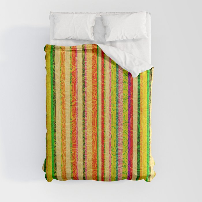 Colorful Stripes and Curls Duvet Cover