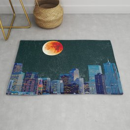 Blood Moon over Denver Colorado Skyline Rug