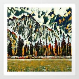 Scenic Mountain Abstract Art Print