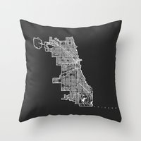 chicago map Throw Pillows featuring CHICAGO MAP by Nicksman