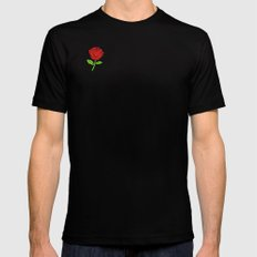 Rose Outline | Floral Mens Fitted Tee MEDIUM Black