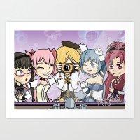 madoka magica Art Prints featuring Madoka Magica Selfie by Square Aquarium