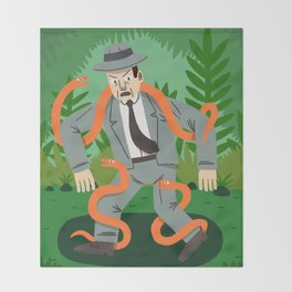 Man with Snakes Throw Blanket