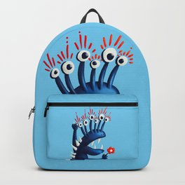 Funny Monster In Blue With Flower Backpack