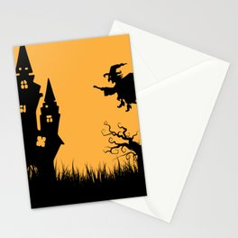 Halloween Witches Witch On Witches Broom Walpurgis Stationery Cards