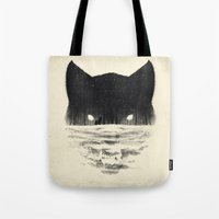 sale Tote Bags featuring Wolfy by Dan Burgess