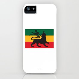 rastafarian flag with the lion of judah (reggae background) iPhone Case