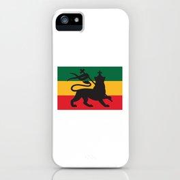 rastafarian flag with the lion of judah (reggae background) iPhone Case