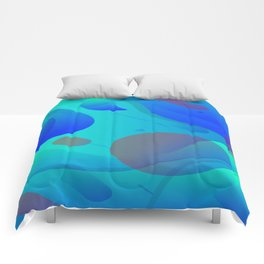 Purple Blue And Green Abstract Design Comforters