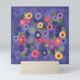 Rose Garden painting roses leaves purple pink blue yellow green Mini Art Print