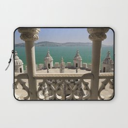 The Torre de Belem tower, view through arches to the river Tejo, Lisbon, Portugal Laptop Sleeve
