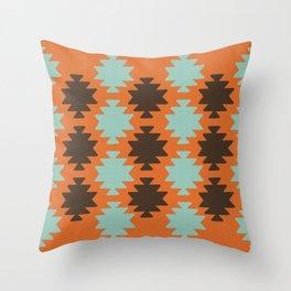 Southwestern pattern orange Throw Pillow