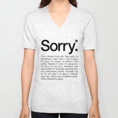 Sorry.* For a limited time only. (White) Unisex V-Neck