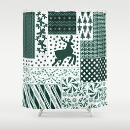 Holiday Green Quilt Design Shower Curtain