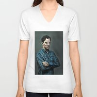 cumberbatch V-neck T-shirts featuring Intense Cumberbatch. by IntroFlect Studios