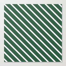 Dark Green Diagonal Stripes Canvas Print