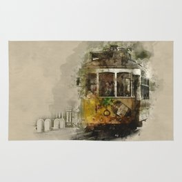 Tram in Lisbon, Portugal - watercolor Rug