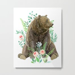 bear sitting in the forest Metal Print