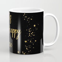 Text Art THIS IS MY HAPPY PLACE III | black with hearts, stars & splashes Coffee Mug