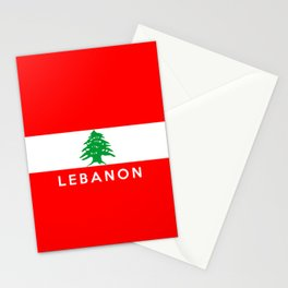 Lebanon country flag name text Stationery Cards