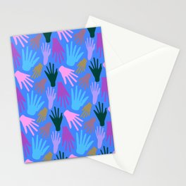 Minimalist Hands in Blue Stationery Cards