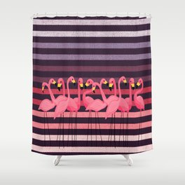 FUN STRIPES WITH FLAMINGOS Shower Curtain