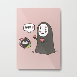 Studio Ghibli No-Face in Love of SootBall Metal Print
