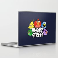 sesame street Laptop & iPad Skins featuring Angry Street: Angry Birds and Sesame Street Mashup by Olechka