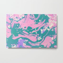 Pink And Green Marble Pattern Metal Print