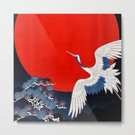 JAPANESE POP ICON- WHITE CRANE Metal Print