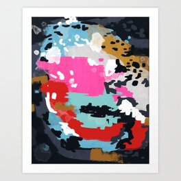 Charlotte - Abstract Painting in pink, gold, mint, and navy Art Print