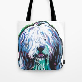Fun Bearded Collie Dog Portrait bright colorful Pop Art Dog Painting by LEA Tote Bag