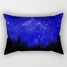 Blue Galaxy Forest Night Sky Rectangular Pillow