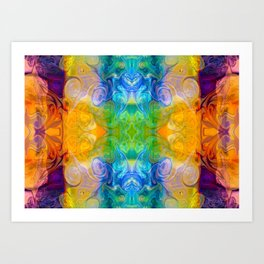 Marrying A Rainbow Abstract Bliss Art By Omashte Art Print
